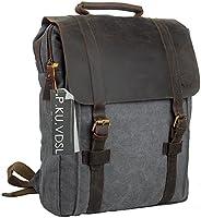 P.KU.VDSL 帆布筆記本電腦背包,AUGUR 系列復古皮革背包,*挎包背包男士女士旅行徒步旅行6820 復古