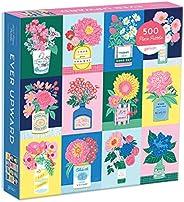 Galison Ever Upward 拼图, 500 片– 彩色拼图, 艾米丽·泰勒插图 – 厚实、坚固、具有挑战性的家庭活动拼图,完美的礼品, 20 英寸 x 20 英寸/约50.8厘米x50.8厘米
