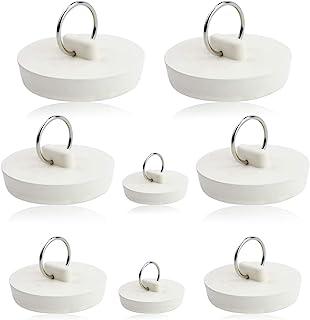 MotBach 8 件套橡胶排水塞套装,白色浴缸地漏盖排水塞,水槽塞带悬挂环,适用于浴室或厨房,4 种尺寸
