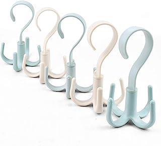360 度旋转多功能挂钩,适用于腰带挂钩、围巾、领带架挂钩,适用于衣橱收纳器、可旋转挂钩,适用于家庭衣柜(5 件)