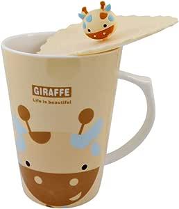 陶瓷长颈鹿咖啡杯带密封硅胶盖,适用于冷热饮,14 盎司(约 396.9 克)