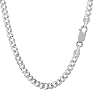 18K Solid Gold 4.5mm Curb Link Chain Necklace- Made In Italy