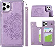 ShunJieTech 适用于 iPhone 11 Pro Max 手机壳,信用卡夹和插槽钱包式手机壳 曼荼罗背壳防震保护套带肩带(6.5 英寸)- 紫色