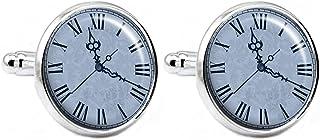 复古蓝色时钟男式袖扣 - 蒸汽朋克时钟 手工袖扣