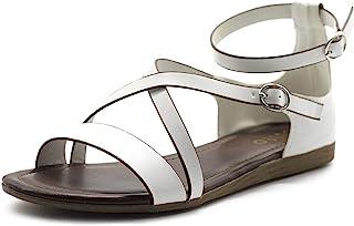 Ollio 女式鞋履双扣交叉带平底凉鞋 S101