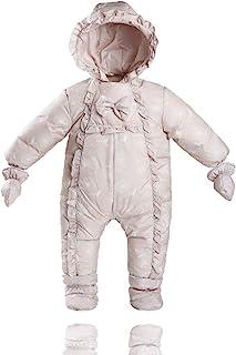 防水女婴防雪服羽绒服米色套装配手套和鞋子总共 5 件