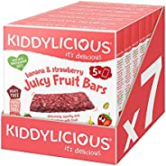Kiddylicious Strawberry & Banana Juicy Fruit Bars| Real Fruit and Wholegrain Oat Kids Snack | Suitable for