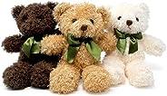 Pluffins 泰迪熊毛绒玩具 - 3 种颜色 - 3 个装
