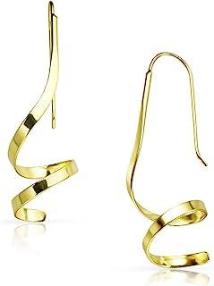实心银 - 标准纯银螺旋旋转吊坠耳环   纯银或黄金浸渍