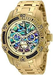 Invicta Men's Pro Diver Scuba Quartz Chronograph Carbon Fiber Bezel Abalone Dial Bracelet Watch,