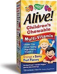 Nature's Way 澳萃維兒童優質咀嚼型復合維生素,水果和蔬菜混合物(每份150毫克),無麩質,120