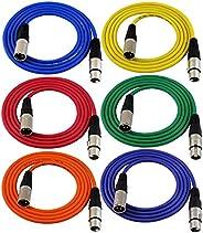 GLS Audio 182.88 厘米接插线电缆 - XLR 公对 XLR 母色电缆 - 182.88 厘米平衡蛇线 - 6 包