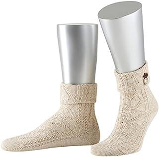 Lusana 男士折边袜,缝制金属心形传统长筒袜