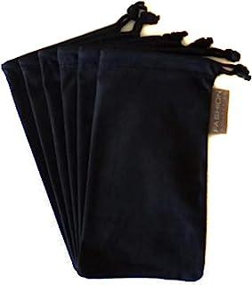 6 件眼镜眼镜 超细纤维软清洁布袋 黑色