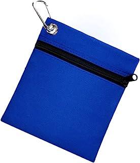 Xbgozly 高尔夫 T 恤袋,高尔夫球包袋袋尼龙拉链带金属龙虾扣登山扣便携式高尔夫球收纳袋高尔夫球包配件蓝色