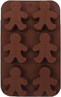 Olywee 圣诞巧克力模具 - 6 腔姜饼男士硅胶模具,硅胶烘焙模具,适用于圣诞巧克力,松饼,糖果,纸杯蛋糕,软糖