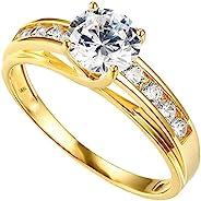 14k 或 10k 黄金或白金实心结婚订婚戒指 - 女士戒指 - 14K 纯黄金或白金求婚女