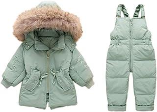 AURNEW 女童防水滑雪夹克防风羽绒夹克防雪服带滑雪背带裤套装