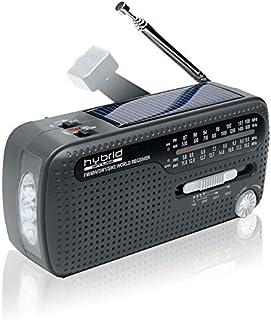 Muse MH-07DS 便携式曲柄收音机 带手电筒和太阳能充电功能 (发电机,手机充电器,太阳能,USB,迷你USB)