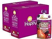 Happy Family Super Bellies 4段有机幼儿食品零食,增强免疫和消化健康,混合梨,甜菜,黑莓,每袋4盎司,共16袋