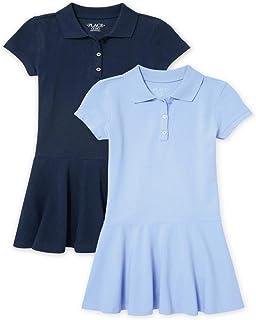 The Children's Place 女童制服珠地布 Polo 连衣裙 2 件装