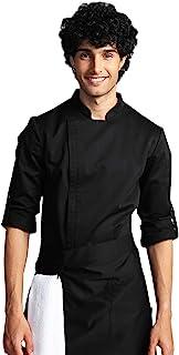 男士隐形拉链厨师服 - 可调节长袖厨师夹克厨房工作制服