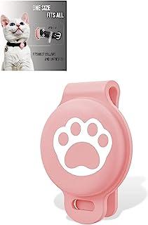 Apple AirTag 宠物追踪器保护硅胶保护套可调节无线宠物防丢探测器猫配件儿童背包相机钱包自行车手提箱旅行配件(粉色)