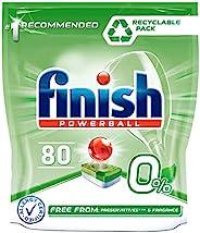 Finish 0% 洗碗机凝胶,不含防腐剂和香料,80 片