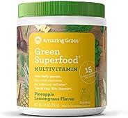 Amazing Grass Green Superfood 多种维生素:植物为基础的多维生素粉末,含有15多种维生素和矿物质,菠萝柠檬草味,30份