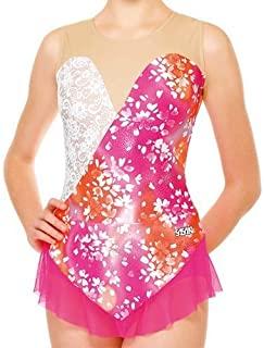樱花(SASAKI) 新体操 带裙子的紧身衣 7365S 粉色×白色(PW)