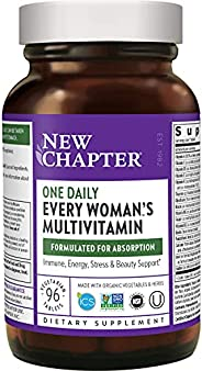 New Chapter 妇女用复合维生素+有益于机体–每位妇女每天都可以食用全食品和益生元+铁+ B维生素+Organic Non-GMO成分-96 Ct(包装可能有所不同)