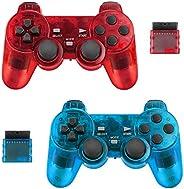 BicycleStore 2 件装无线控制器,适用于 PS2 Playstation 2.4G 游戏手柄操纵杆遥控器,带双减震振动敏感控制无线接收器(透明蓝色和透明红色)。