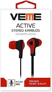 veme vhs-350Active 系列立体声耳塞防缠绕扁平网线电脑耳机 红色
