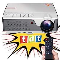 投影儀 Nativer 全高清 1080P 投影儀,Unicview FHD950(1920 x 1080),6.500 LED 燈,低價的*大亮度,便攜式 LED 家庭影院 AC3 HDMI USB MKV 集成電視(白色)