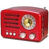 PRUNUS 经典复古木类似迷你 FM AM SW MP3 蓝牙晶体管可充电收音机,支持 AUX 功能,270°大罗盘调…