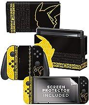 控制器装备正品 & 官方*口袋妖怪 - 皮卡丘轮廓套装 2 - 任天堂 Switch 皮肤 & 屏幕保护膜 套装 - 任天
