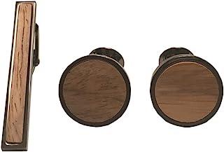 D&L Menswear 黑色镀铑木镶嵌领带夹和圆形袖口带黑色礼品盒