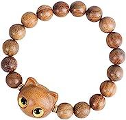 XIANFENJU 中性天然绿檀香猫眼玛拉祈祷珠项链手链冥想佛教念珠玛拉珠