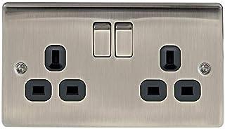 Masterplug NBS22W 13 A 2-Gang 金属拉丝钢双杆开关插座 - 白色嵌入 拉丝铱 nbi22b