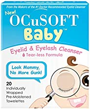 OCuSOFT 嬰兒眼睫毛清潔劑,預保濕毛巾,20 片