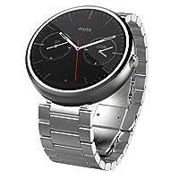 摩托羅拉 1.56 英寸 Moto 360 智能手表 23 毫米,適用于 Android 和 iPhone - 淺金屬(制造商已停產)