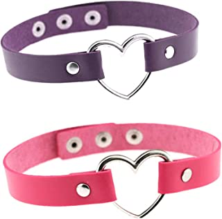 Bersteag 可调节皮革爱型链颈链 适用于女性家庭瑜伽舞台道具