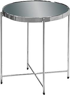 Esidra 9514 – 00 桌子,圆形,镀铬钢,钢化玻璃和丝网印刷,灰色,40 x 40 x 45 厘米