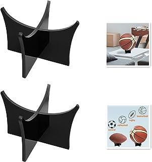 Vokoly 2 件套亚克力球展示架 - 盛装足球或保龄球 - 黑色展示支架或支架 (SA49B-2)