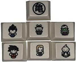 Mugen 定制白色 Chibi 风格龙珠动漫键帽套装适用于 Cherry MX 开关 - 适合大多数机械游戏键盘 - 带键帽拔出器