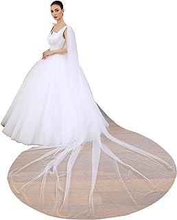 EllieHouse 长款薄纱肩新娘斗篷婚礼面纱斗篷 T41