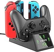 Switch Joy-Con 控制器充电器和 Pro 控制器充电底座,适用于 Nintendo Switch 的 OIVO 5 合 1 快速充电器扩展坞 - 包含 2.8 英尺 C 型电缆