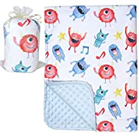 Bundled Joy 婴儿礼品 - 优质柔软毛绒轻质貂皮圆点幼儿新生儿毯 76.2cm x 101.6cm Monster Light Blue