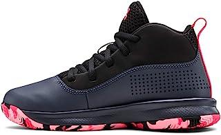 Under Armour 中性款校前锁 4 篮球鞋,浅灰色 (401)/黑色,11K M 美国小童