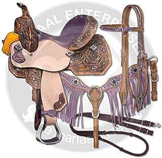 Deen, Enterprises 优质皮革西部桶赛车成人马鞍夹,自由搭配皮革头枕,乳房项圈和驯鹿尺寸 43.18 厘米座椅可选